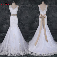 Mermaid V Neck Open Back Lace Beaded Mariage Sexy Wedding Dresses Robe De Mariee 2018 Real