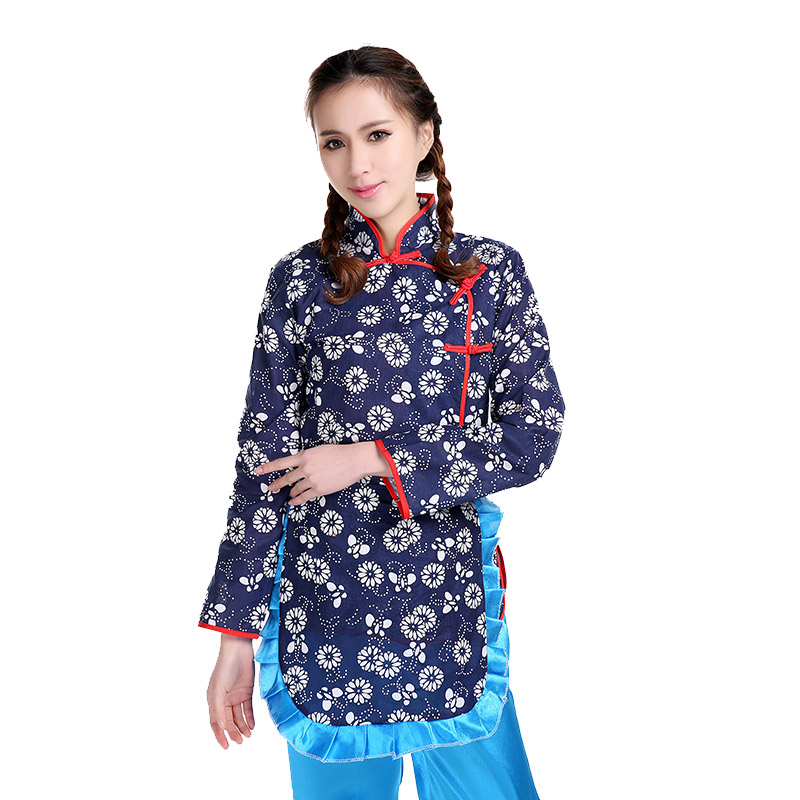 Ah Qing Sao stage performance costumes Xi Er  Chinese village girl clothing cotton women cosplay costume Sha Jia Bang