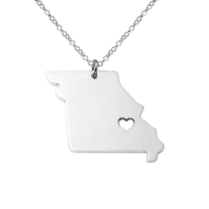 3 Color Missouri American State Necklace 316L Stainless Steel With Hollow Heart Map Pendant Necklace Jewelry