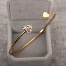 Open Bracelets&Bangles Women Gold Silver Heart Bangles Charm Crystal Bracelet Fashion Jewelry Valentine Gift Bijoux