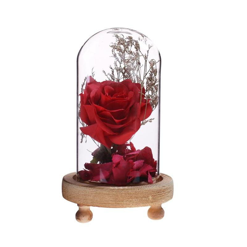 Romantic Red Rose in a Glass Dome on a Wooden Base Ornaments Festival Decor Birthday Gifts for Christmas mothers day Gifts