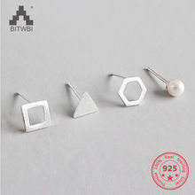 Small Hollow Square Triangle Hexagon Pearl 925 Sterling Silver for Women Earrings 4 pcs/set(China)