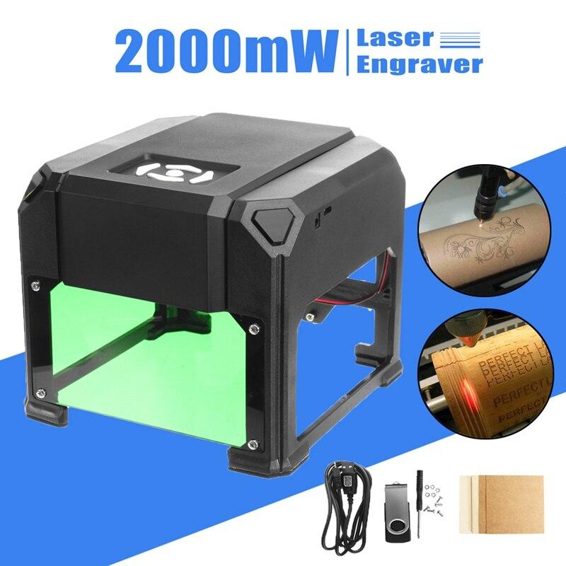 2000 mw USB Laser De Bureau Machine De Gravure BRICOLAGE Logo Marque Imprimante Cutter CNC Laser Sculpture Machine Mis À Jour POUR GAGNER/ mac OS Système