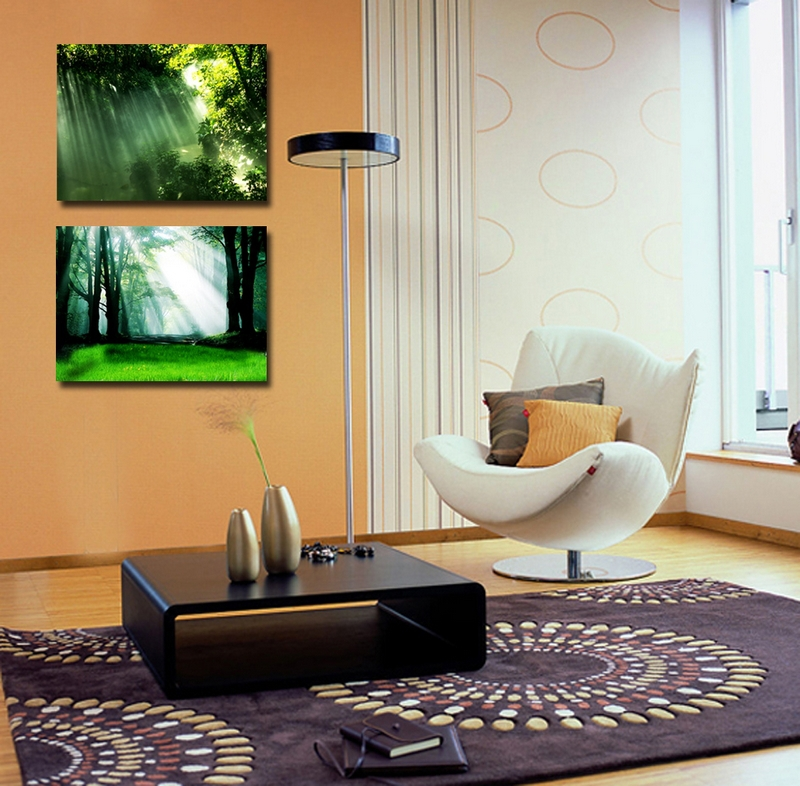 Natural Forest Scenery Paintings Printed On Canvas Art Decoration Oil Painting Beautiful Artwork