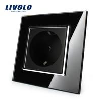 Free Shipping Livolo EU Power Socket Black Crystal Glass Panel 16A EU Standard Wall Outlet Without