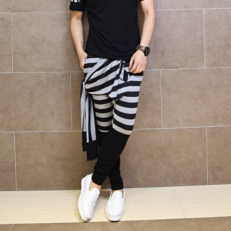 Slim M Élastique Nouvelle 1 Mâle Occasionnel Fit 2 Mode Taille xl Harem Rayé 2018 Pantalon Cordon Crayon Mens Coréen q0PS0wxZ