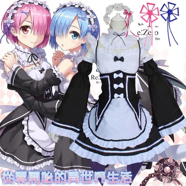 Re vida en un mundo diferente de Zero REM Ram Cosplay traje japonés anime  vestido y 08778d262d9a