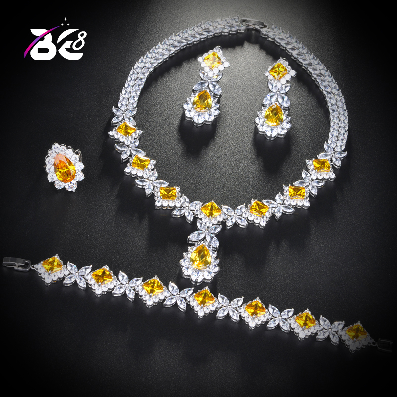 Be 8 Latest Fashion Clear Stone Brilliant Cubic Zirconia Wedding Jewelry Sets Women Bridal 4 Pcs