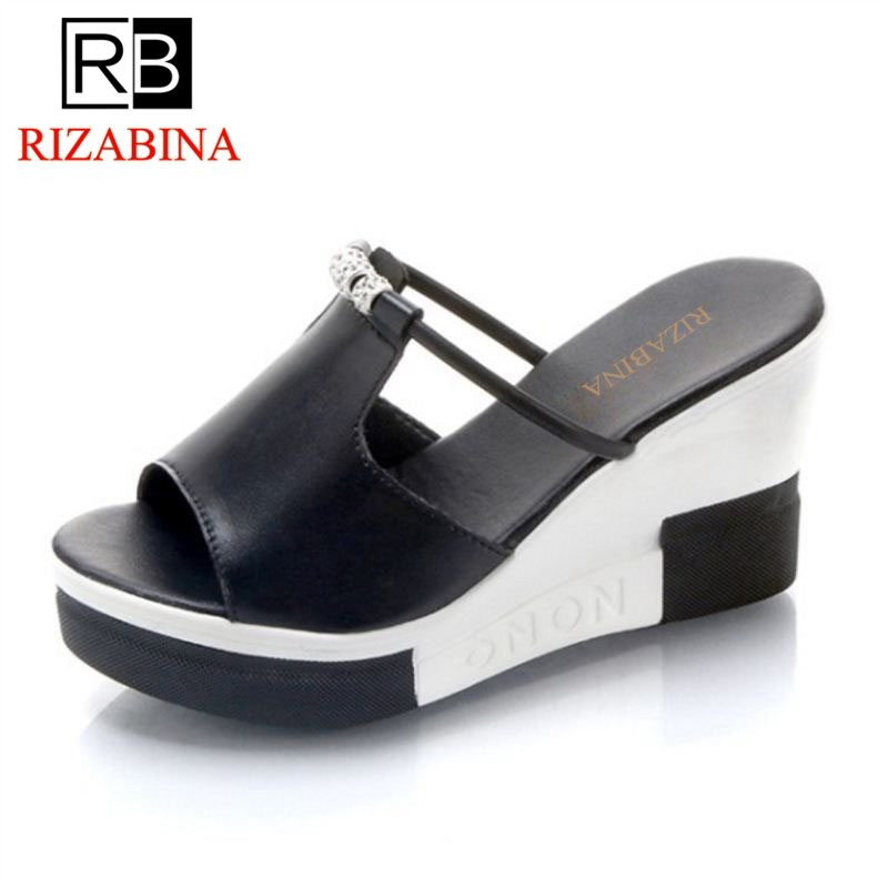 RizaBina Women High Heels Platform Sandals Crystal Summer Party Vacation Shose Women Concise Club Daily Footwear Size 34-40