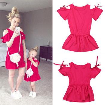 Familia madre hija vestido a juego rojo mujer chica encantadora Clod hombro vestidos verano moda ropa