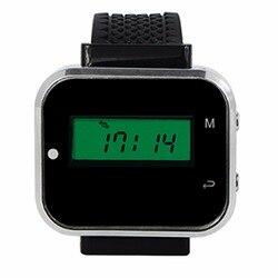 433,92 мГц черный Беспроводной Вызов подкачки Системы часы наручные хоста получателя вызова пейджера для ресторана фабрика офисной F3300A