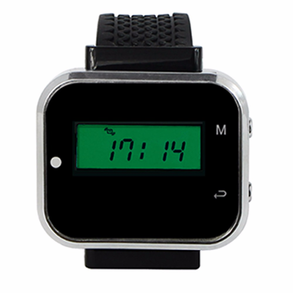 433.92MHz Black Wireless Calling Paging System Watch Wrist Receiver Host Call Pager for Restaurant Factory Office F3300A wireless pager system 433 92mhz wireless restaurant table buzzer with monitor and watch receiver 3 display 42 call button