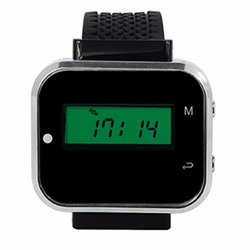 433.92MHz Black Wireless Calling Paging System Watch Wrist Receiver Host Call Pager for Restaurant Factory Office F3300A
