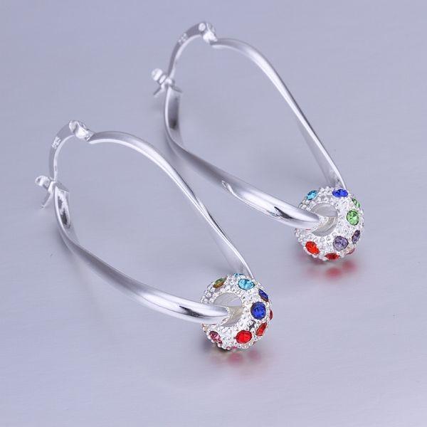 100% Wahr Heißer Verkauf!! Freies Verschiffen Schmuck Versilbert Ohrring, Modeschmuck Versilbert Intarsien Farbe Kristall Ohrringe Smte245