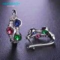 MECHOSEN Multicolor Rhinestones Stud Earrings for Women Party Ear Bijuterias AAA+ Zirconia Rhodium Plated Boucle d'oreille femme