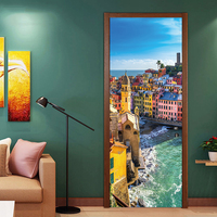 2 Panels Seaside On Ocean Wall Art Picture Mural Wall Stickers Door Sticker Wallpaper Decals living Room Home Decoration