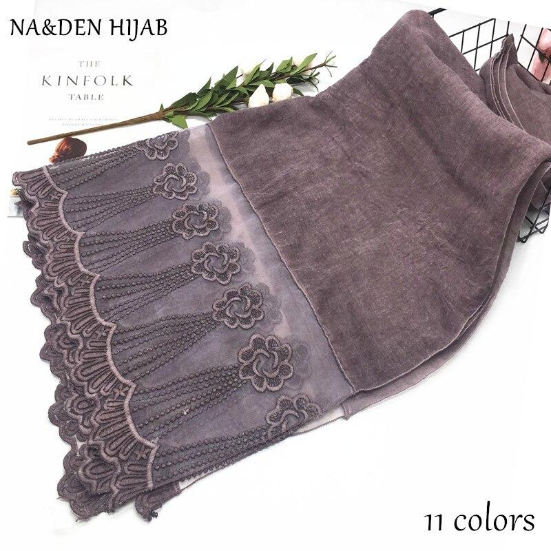 Luxury lace hijab embroidery flower shawl dusty color scarf Plain Maxi Hijab scarves fashion wear muslim