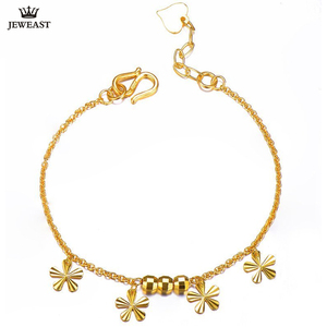 Image 1 - 24K Pure Gold Bracelet Real 999 Solid Gold Bangle Flower O Shape Adjustable Trendy Classic Party Fine Jewelry Hot Sell New 2020