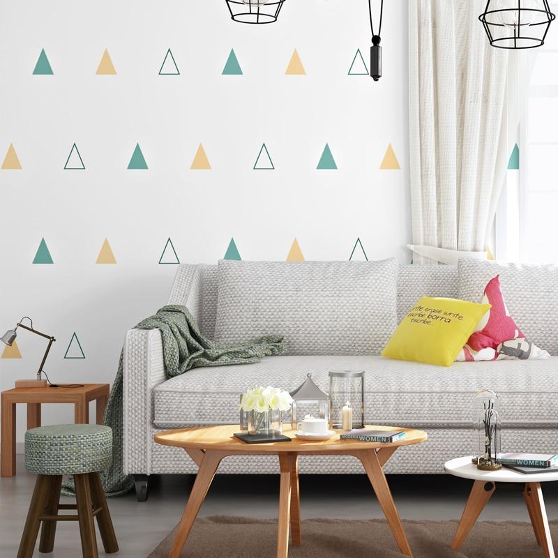 10M Length Nordic Wallpaper Modern Geometric Triangle Children's Bedroom  Boys and Girls Korean Paper Wallpaper Roll Home Decor