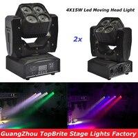 Высокое качество 2 шт./лот 4X15 Вт Мини светодиодный движущихся головного света с DMX512 RGBW 4IN1 светодиодный сканер сценический эффект освещение д