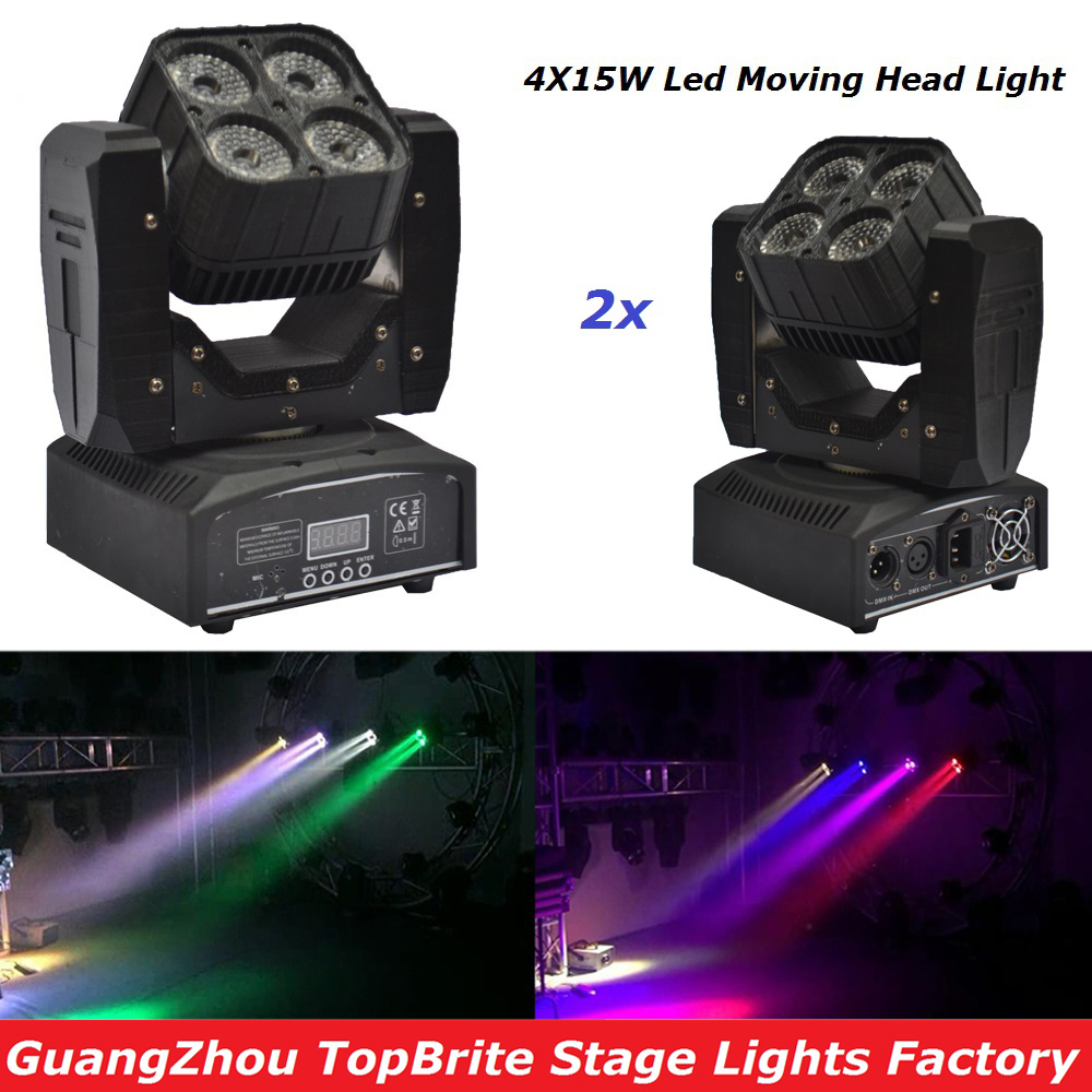 High Quality 2Pcs/Lot 4X15W Mini LED Moving Head Light With DMX512 RGBW 4IN1 LED Scanner Stage Effect Lighting For Free Shipping free shipping high quality 2015 mini disc flower sinamay fascinator with feather for race