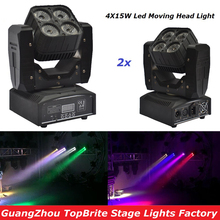 High Quality 2Pcs/Lot 4X15W Mini LED Moving Head Light With DMX512 RGBW 4IN1 LED Scanner Stage Effect Lighting For Free Shipping free shipping 5band 50w 50 1w led grow light better for flowering lighting high quality with 3years warranty dropshipping