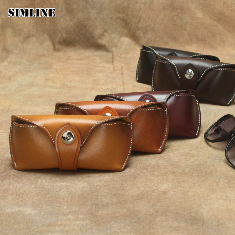 Handmade Vintage Eyeglasses Box Hard Genuine Leather Luxury Spectacle Glasses Bag Case Eyewear Sunglasses Holder Cover Men Women chlpond luxury 100% pure titanium full rim brand eyeglasses men optical spectacle frame eye prescription glasses oculos 6817