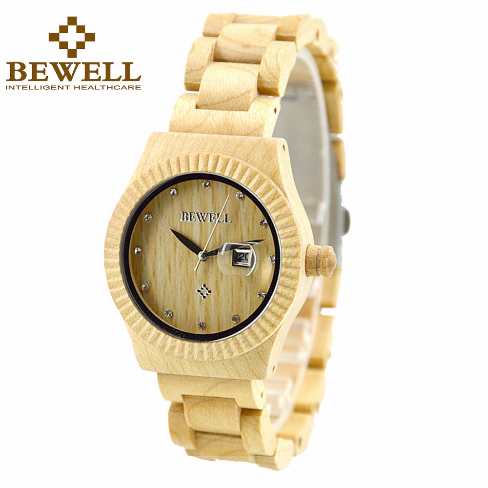 BEWELL Casual Womens Wood Watch with Date Analog Quartz Wooden Wrist Watch with Gift Box Clock Relogio 064AL