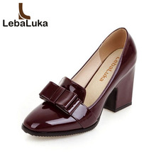 Tuyoki Size 33-43 Women High Heels Shoes Bowknot Square Toe Pumps Office Lady Thick Heel Party Shoe Women Mature Date Footwear women square high heel shoes lady party quality footwear pointed toe brand fashion heeled pumps heels shoes size 34 39 p17328
