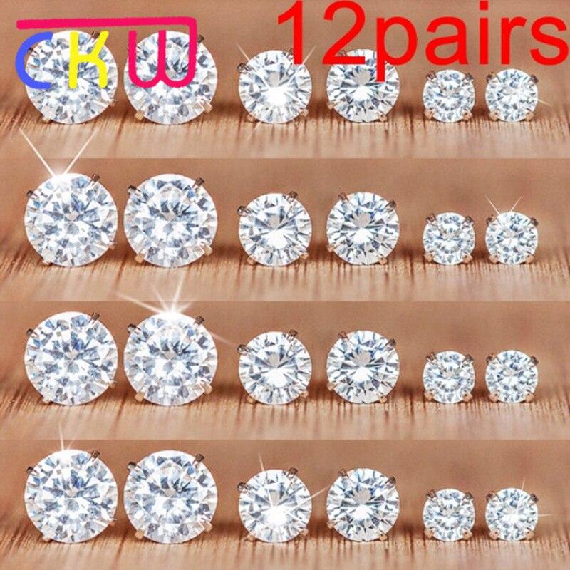 CKW 12pairs Exquisite Crystal Zircon Stup Earrings Simple Alloy Earrings Set for Women Oorbellen Voor Vrouwen