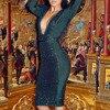 Adyce Bandage Dress 2018 Chic Sequin Dresses Luxury Celebrity Evening Party Dresses V Neck Long Sleeve