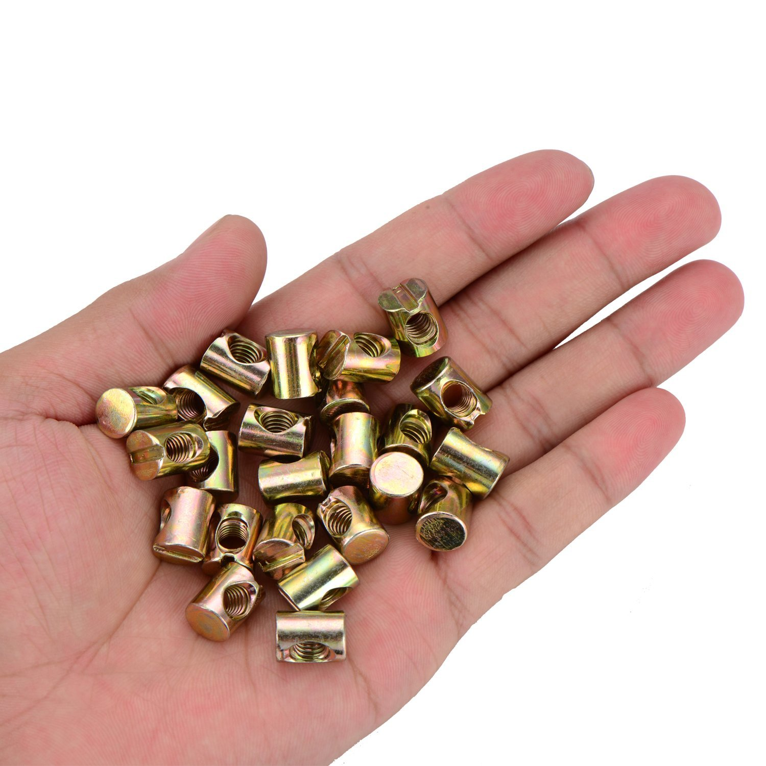 24 pieces M6 Barrel Nuts Cross Dowels Slotted Nuts for Furniture Beds Crib Chairs