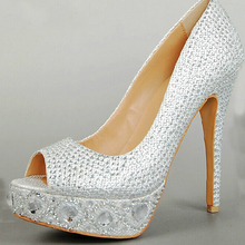 2016 Luxury Silver Peep Toe Gem Diamond Wedding Shoes Bridal Shoes Bridesmaid Party Custom Made Shoes Size Formal Dress Shoes