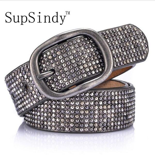 SupSindy femme en cuir ceinture géométrique rivet boucle ardillon PU  ceintures pour femmes European fashion top 60869999655