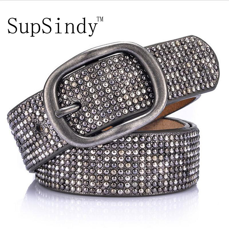 SupSindy woman leather belt geometric rivet pin buckle PU belts for women European fashion top quality leather strap for jeans
