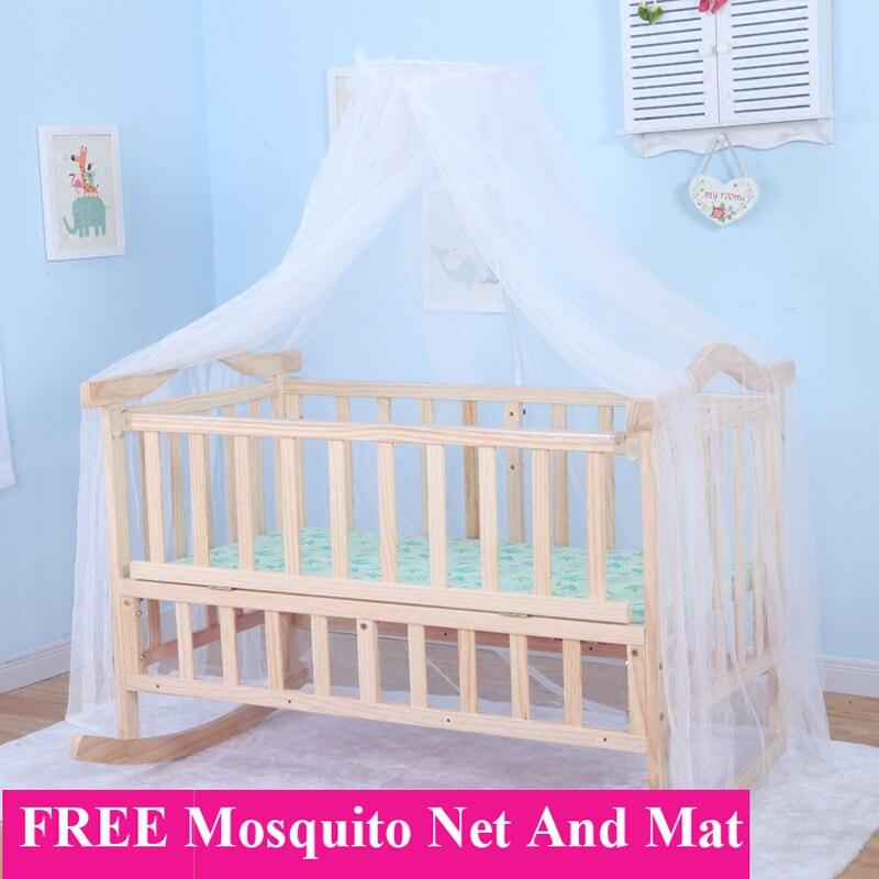 105 cm/120 cm lit bébé extra grande taille, peut charger adulte, pas de peinture berceau bébé nouveau-né berceau, lit à bascule avec moustiquaire - 2
