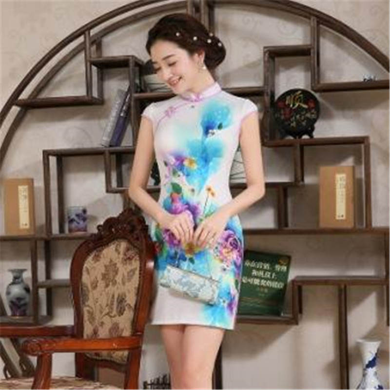 Shanghai Story Hot Flower Printing <font><b>Chinese</b></font> Traditional <font><b>Dress</b></font> <font><b>Sexy</b></font> Slim Short Mini cheongsam Qipao <font><b>Dresses</b></font> image