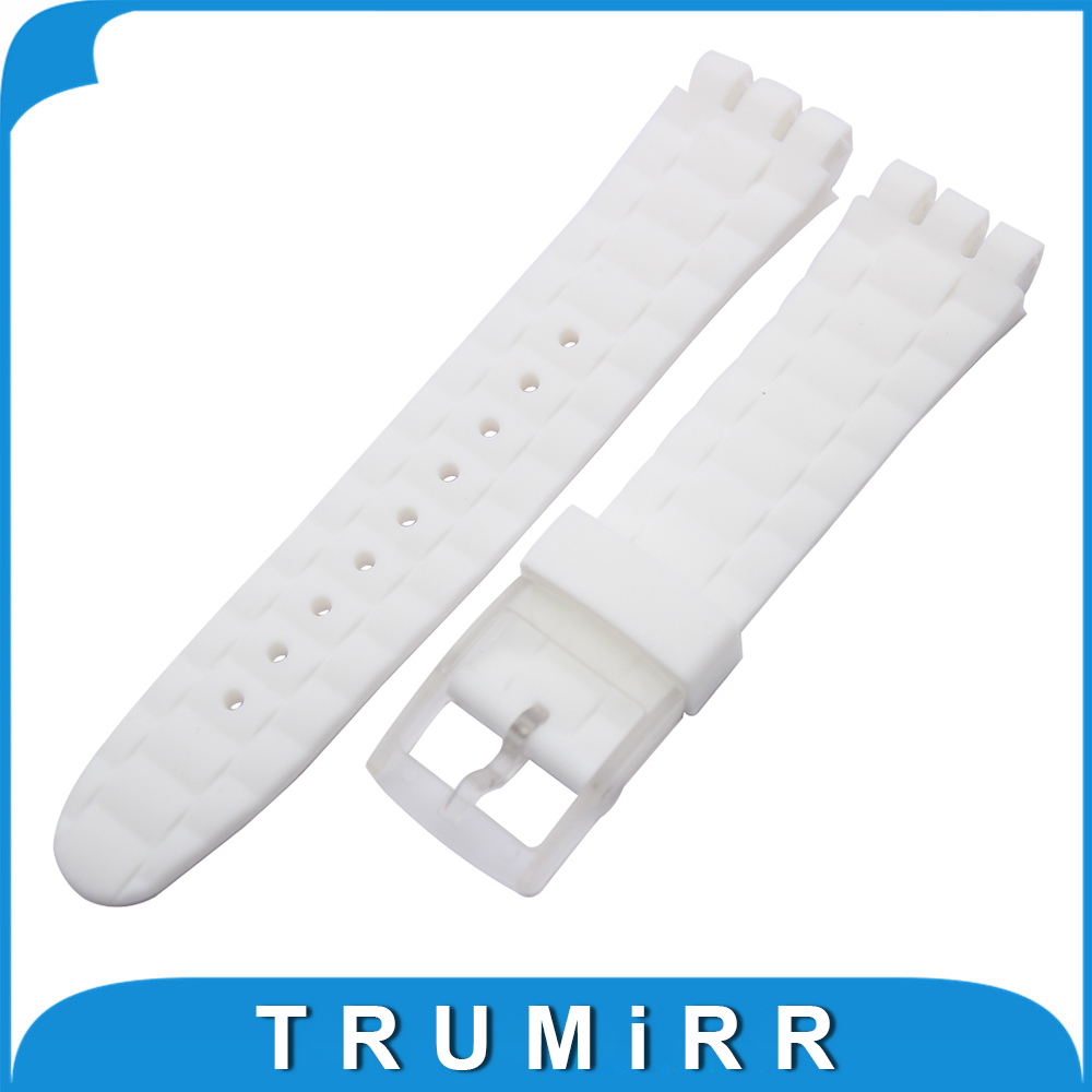 Silicone Rubber Watchband 20mm 21mm for Swatch Replacement Watch Band Plastic Buckle Strap 3 Pointer Wrist Bracelet Black White eache silicone watch band strap replacement watch band can fit for swatch 17mm 19mm men women