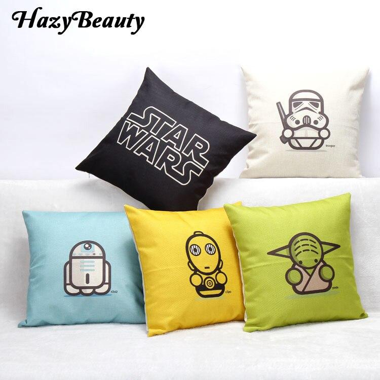 d2c86d8da Hazy Beauty Hollywood Movies Star Wars Pattern Cushion Cover 45x45CM Cotton  Linen Waist Almofada Chair Car Decorative Pillowcase