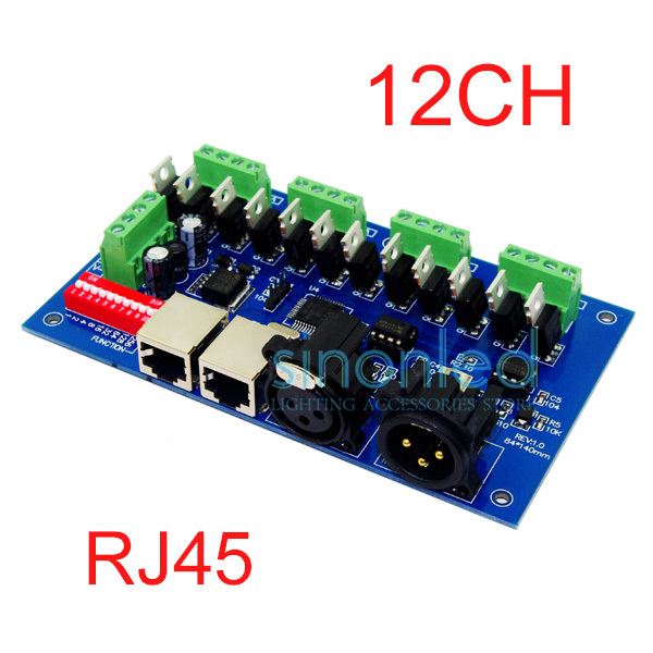 ФОТО 12CH Easy dmx512 Controller, decoder ,4 groups RGB output ,with(XLR,RJ45) ,each channel Max 3A,For LED strip light,module 12-24V