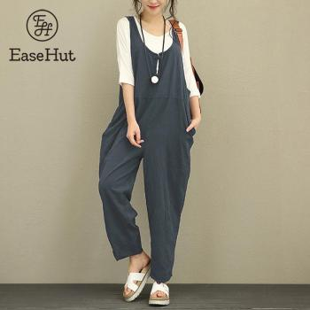 EaseHut 2018 Retro Cotton Linen Rompers Womens Jumpsuits Female Backless Overalls Strapless Playsuit Plus Size Pantalon Palazzo plus size women in overalls