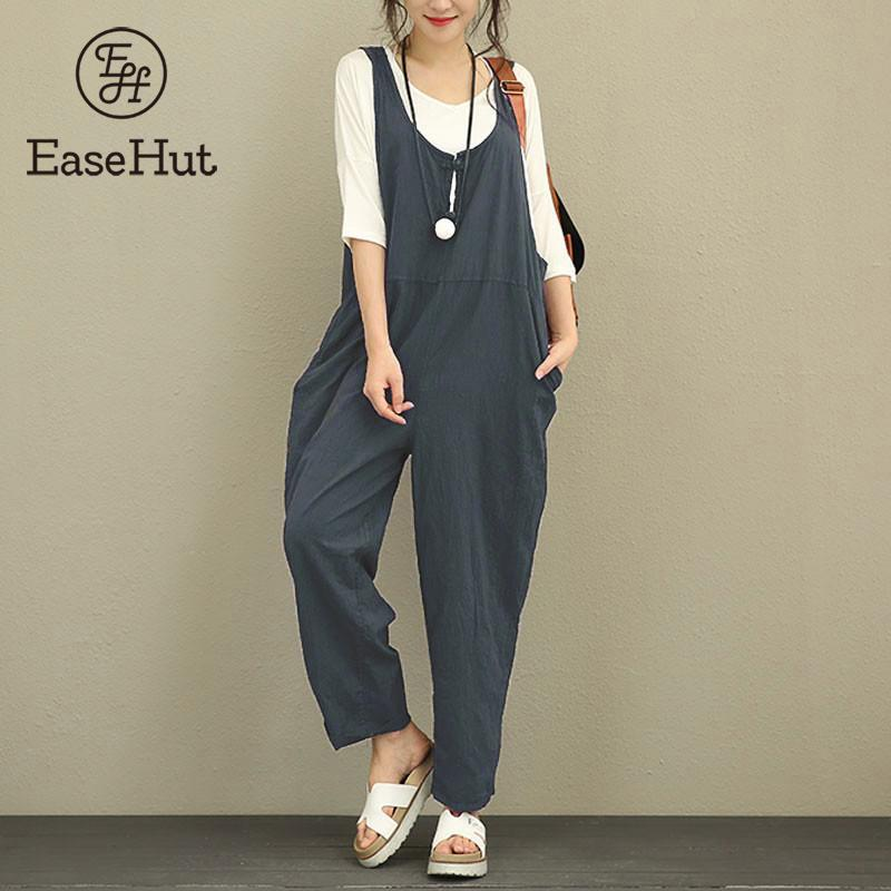 EaseHut Retro Cotton Linen Rompers Womens   Jumpsuits   2019 Female Backless Overalls Playsuit Plus Size Pantalon Palazzo macacao
