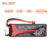 GOLDBAT 5200mAh Lipo Battery 7.4V 50C 2S LiPo RC Battery with Deans Plug for RC Evader BX Car Truck Truggy Buggy Tank Helicopt