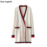 Free Inspirit 2018 New Fashion Autumn And Winter Women Classic Pearl Decoration Long Section Lady Knit Cardigan Sweater