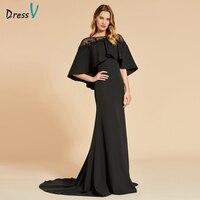 Dressv Black Evening Dress Sext Mermaid Long Sleeves Floor Length Button Wedding Party Formal Dress Trumpet