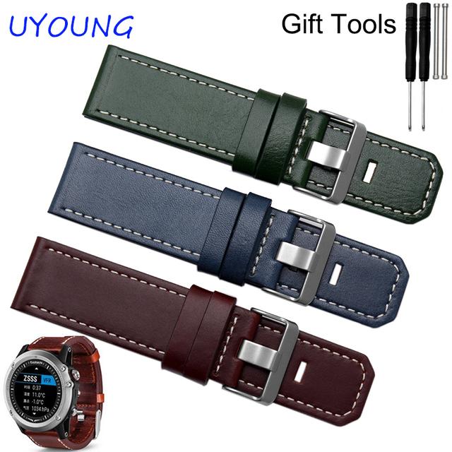 Para garmin fenix 3 qualidade do couro genuíno faixa de relógio pulseira de couro de brown dos homens espessamento para garmin
