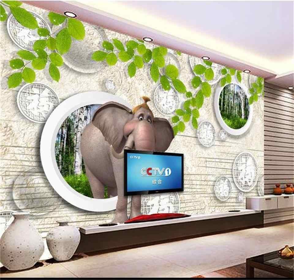 Пользовательские 3D фотообоями гостиная слон Bamboo Узор Настенная живопись диван ТВ фоне стены нетканого стикер