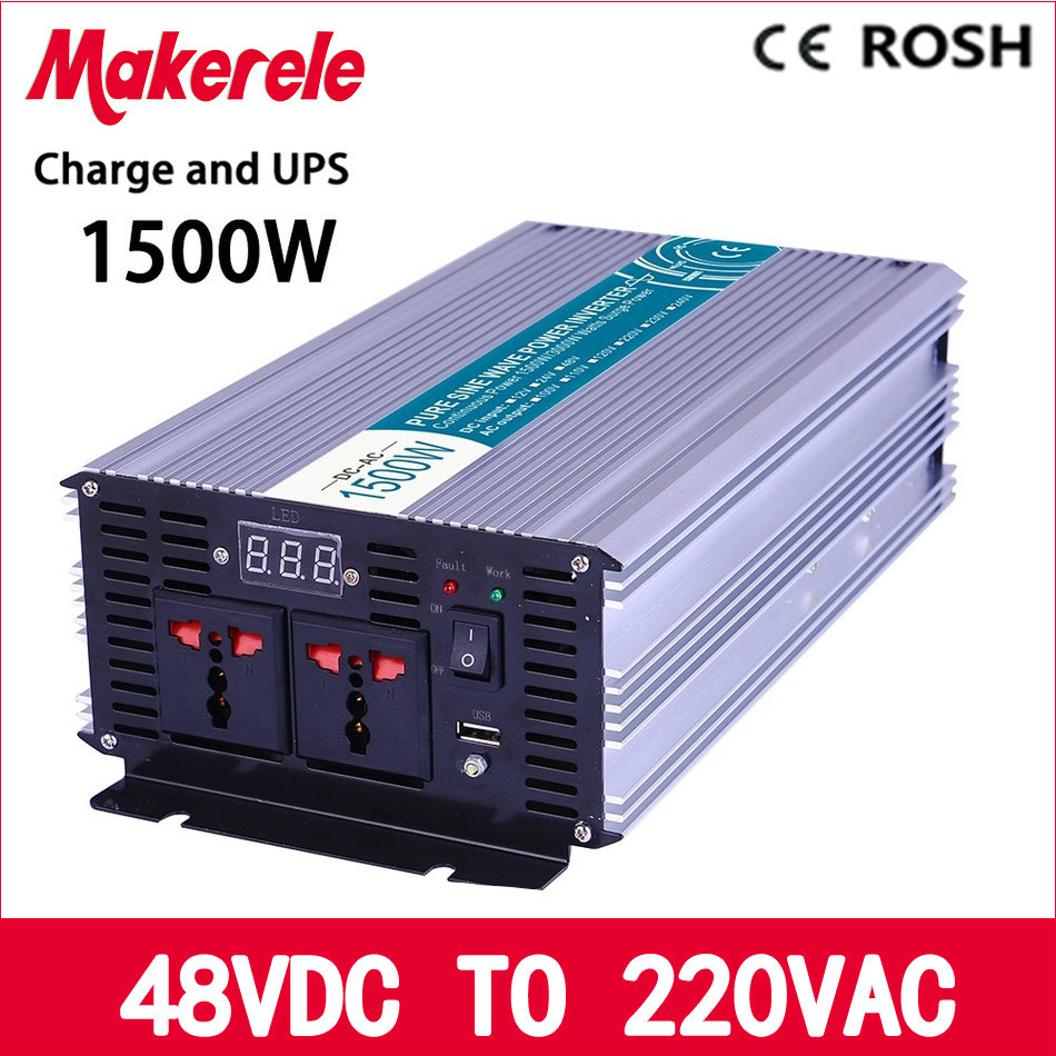 MKP1500-482-C off-grid 1500w UPS inverter 48v to 220v Pure Sine Wave voltage converter with charger and UPS p800 481 c pure sine wave 800w soiar iverter off grid ied dispiay iverter dc48v to 110vac with charge and ups