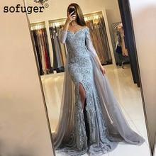 Sexy High Long Dress Embroidery vestido de festa longue Bow sashes Evening Slit Mermaid skirt