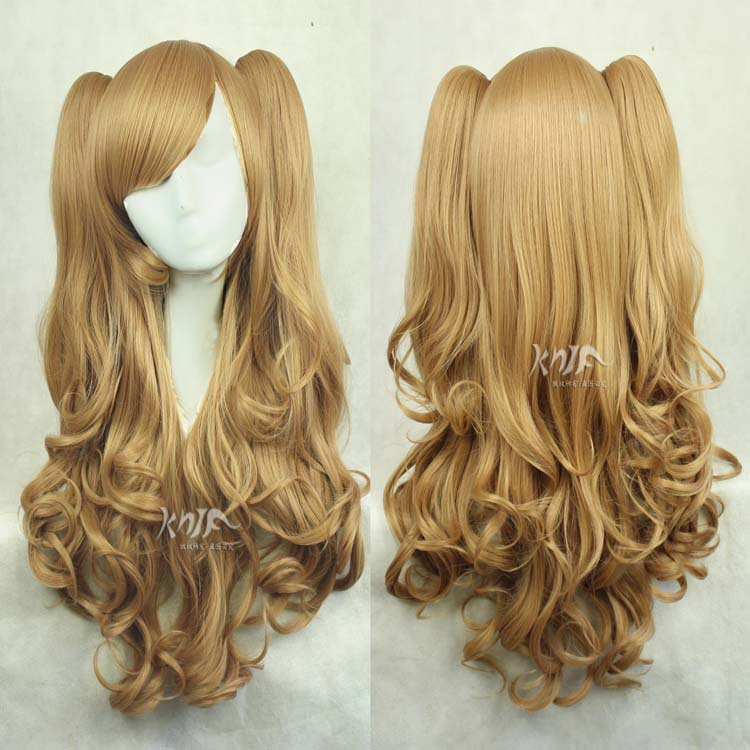 High quality Harajuku hair accessories 600g 85cm synthetic hair jewelry for Lolita yellow linen cosplay wigs long curly lolita japanese hair mixed blonde purple high temperature synthetic wigs for women big wavy cosplay wig